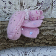 Needle felted sleeping baby dragon, winged dragon, pink with stars