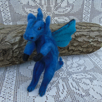 Needle felted dragon, blue tones, winged dragon,