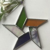 Stained Glass Pentagon Star