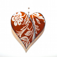 Amber Etched Stained Glass Heart