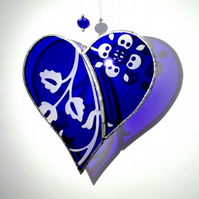 Blue Etched Stained Glass Heart