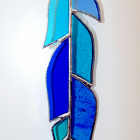 Stained Glass Blue Feather