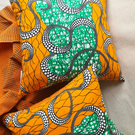 Ade Cushion Cover, African Wax Print Scatter Cushion, Cotton Fabric, 40 x 40 cm
