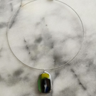 Fused glass pendant, necklace on silver plated wire choker
