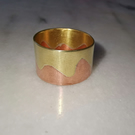 Copper and brass band ring, mixed metal ring