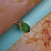 Green seaglass sterling silver ring