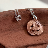 Seasonal halloween pumpkin copper pendant necklace