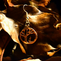 Handmade copper autumn tree dangle earring.