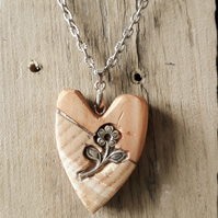 Chunky wood love heart necklace with silver flower