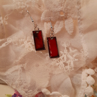 Christmas party, red glossy rectangle drop earrings. Red enamel earrings