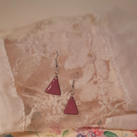 Delicate pink triangle enamel on copper drop earrings. Pink enamel earrings