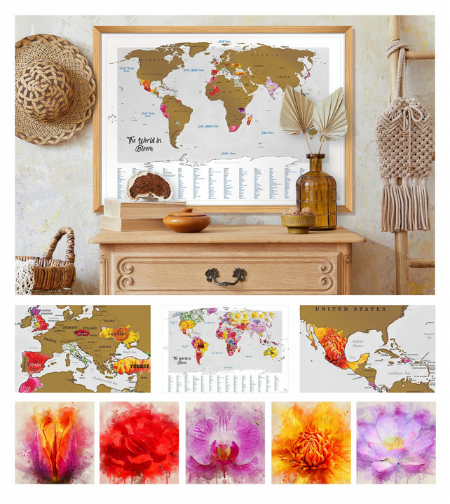 NEW! Beautiful Flower Scratch Off World Map feat. 165 of my Watercolour Flowers