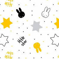 Miffy Twinkle Monochrome little Stars Text Fabric - Cotton Fabric Collection