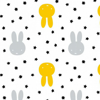 Miffy Twinkle Miffy and Stars - White - Cotton Fabric Collection