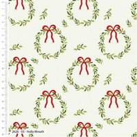 The Craft Cotton Co Traditional Christmas Holly Wreath Cotton Fabric