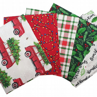 Jingle All The Way Fat Quarters Cotton Fabric Bundles - 5 Pack