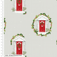 The Craft Cotton Co Traditional Christmas Red Door Cotton Fabric