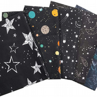 The Craft Cotton Co Outer Space Fat Quarters - 5 Pack