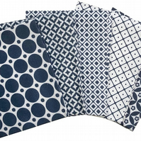 The Craft Cotton Co Medley Patterns Navy & White Fat Quarters - 5 Pack