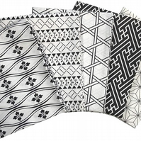 The Craft Cotton Co Medley Patterns Black & White Fat Quarters - 5 Pack
