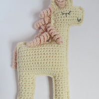 Unicorn, crochet toy, cotton yarn, made to order