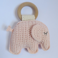 Elephant, Teething ring, Pink, Baby gift, Cotton yarn, Beech wood ring