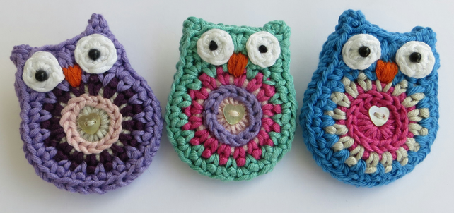Owl brooch, crochet, cotton, bird brooch