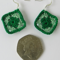 Crochet earrings, Granny square, Retro gift, Micro crochet, Green, Pale Green