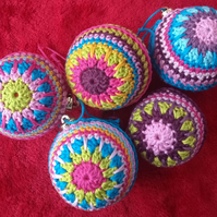 Crochet Baubles Set, Multicolour, Handmade, Hanging Decorations