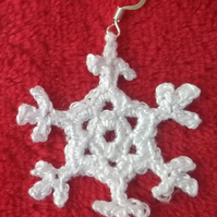 Christmas snowflake earrings, Crochet earrings, Handmade jewellery