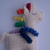 Unicorn, crochet toy, cotton yarn, rainbow