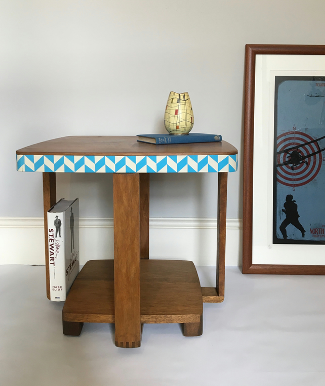 Coffee table wood Utility CC41 mid century modern 1950s hand painted blue white