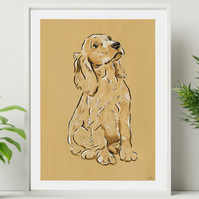 Cocker Spaniel Dog Ochre Wall Art Print - Minimalist Dog Line Art Wall Decor