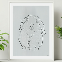 Light Grey Rabbit Wall Art Print - Minimalist Bunny Rabbit Line Art Wall Decor