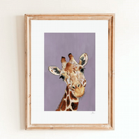 Purple Giraffe Wall Art Print - African Animal Safari Print - Giraffe Wall Decor