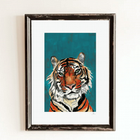 Blue Tiger Wall Art Print - African Animal Safari Print - Tiger Wall Decor