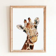 Giraffe Wall Art Print - African Animal Safari Art - Giraffe Wall Decor