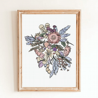 Lilac Bunch Floral Wall Art Print - Botanical Artwork Print