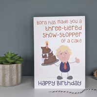 Funny Lockdown 2020 Birthday Card - Boris and his Christmas Cake