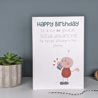 Funny Birthday Card for Son - Social Distancing