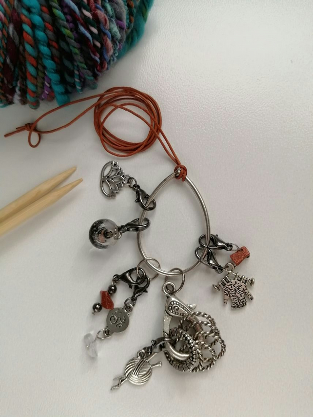 Silver Lotus Stitch Marker Necklace