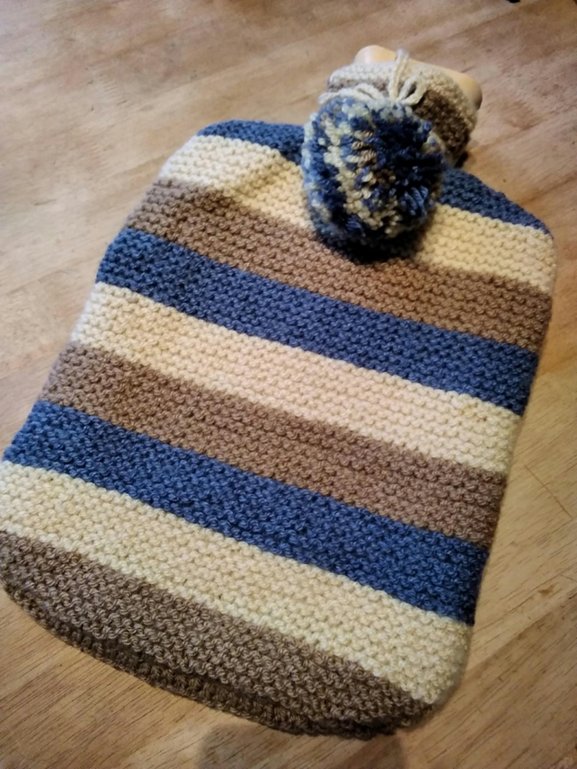 Knitted hot water bottle cover inc. HW bottle
