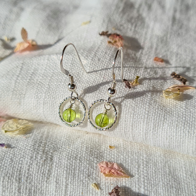 Birthstone and Sterling Silver Circle Drop Earrings