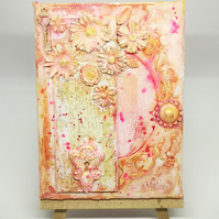 Home decor, Vintage pink small canvas