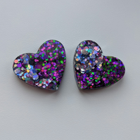 Mixed glitters large hearts