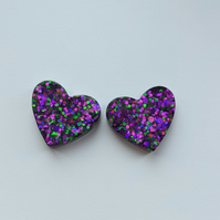 Purple & green twinkly mix hearts