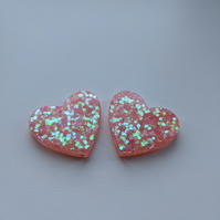 Peachy pink iridescent glitter large hearts