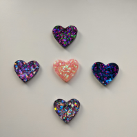 Large heart pin brooches