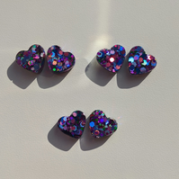 Small jewel glitter holographic hearts