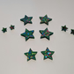 Christmas tree star studs, large, med. Mini, tiny